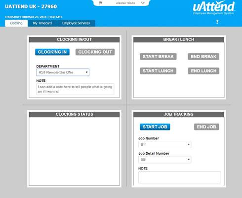 Staff online self-service clocking in screen