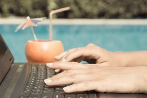 woman's hands with laptop