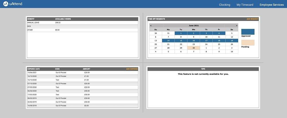 web-based clocking system employee services